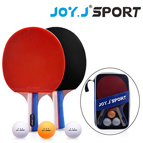 Joy.J Sets de Ping Pong, 2 Raquetas de Ping Pong + 3 Pelotas + 1 Bolsa, Profesionales Palas Ping Pong, Cómodo Mango | Esponja de Alta Elasticidad | Goma de Doble Cara (Conjunto recreativo)