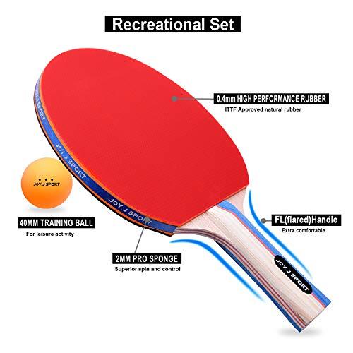 Joy.J Sets de Ping Pong, 2 Raquetas de Ping Pong + 3 Pelotas + 1 Bolsa, Profesionales Palas Ping Pong, Cómodo Mango | Esponja de Alta Elasticidad | Goma de Doble Cara