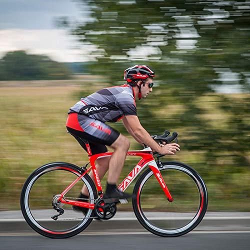 SAVADECK HERD6.0 700C Bicicleta de Carretera de Fibra de Carbono Shimano 105 R7000 22S Sistema de transmisión Michelin Neumático Fizi:k Sillín (Negro Amarillo, 52)
