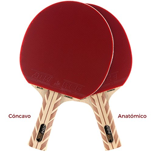 Atemi Pala de Ping Pong 5000 (Madera de Balsa y Carbono) Raqueta Profesional de Tenis de Mesa para Velocidad, Rotación y Control Óptimos| Grado de Competición, Principiante y Amistoso (Anatómico)