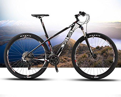 """SAVA DECK 300 27.5""""/29"""" Bicicleta de Montaña de Fibra de Carbono 30-Velocidad Shimano M610 Hard Tail Bicicleta SR SUNTOUR Horquilla de Suspensión Mountain Bike Maxxis Neumáticos (29*19', gris)"""