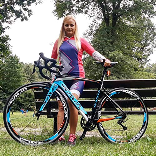 Sava Bicicleta de Carretera de Fibra de Carbono 700C Shimano 5800 22-Velocidad Sistema Modelo Actualizado Bicicleta Ultraligera (Negro Blanco Azul, 520Mm)